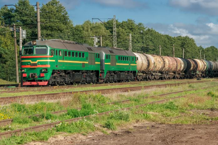 A stock photo of a freight train passing through Latvia. Credit: New Sight Photography/Shutterstock.