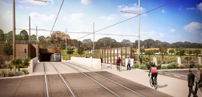 An artist's impression of the light rail tunnel's portal. Credit: Sydney Light Rail.