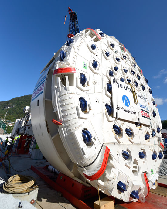 The tunnel boring machine Ulrikke. Credit: Øystein Grue/Jernbaneverket.