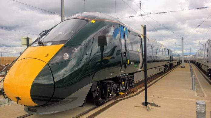 The train, which was successfully tested, at Hitachi's Stoke Gifford depot. Credit: Hitachi.