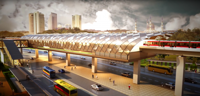 An artist's impression of a station on the LRT3 line, on which the vehicles will operate. Credit: LRT3.
