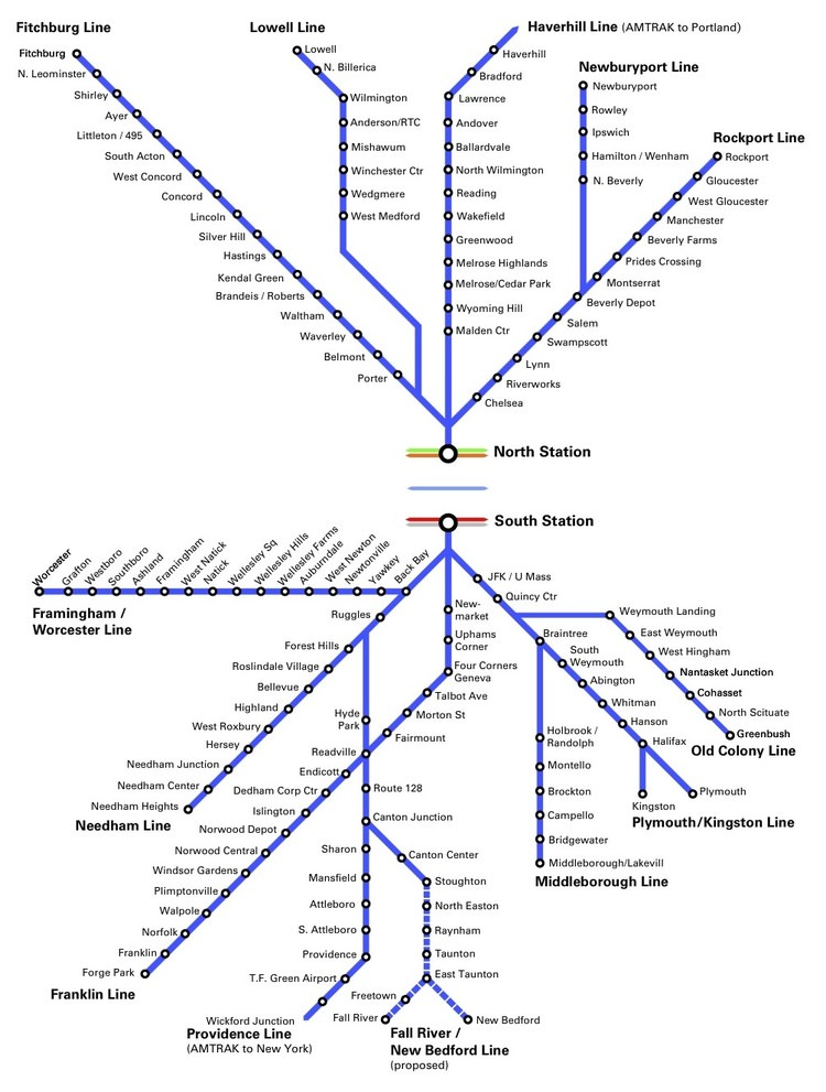 A map of Boston's two commuter rail networks. Credit: North-South Rail Link.