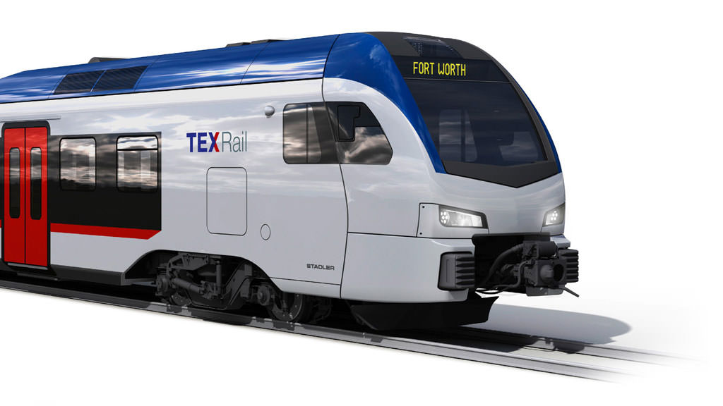 An artist's impression of the train. Credit: TEXRail.