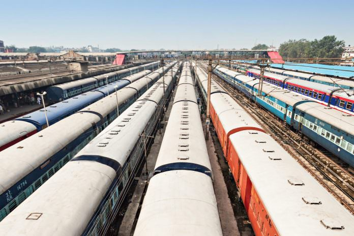 A number of trains at New Delhi station. Credit:saiko3p/Shutterstock.
