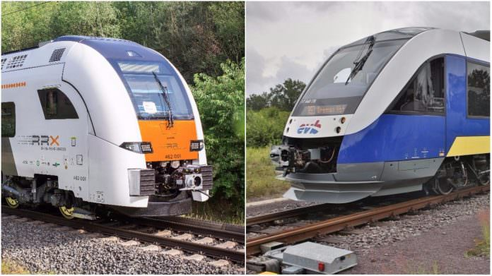 A Siemens Desiro EMU (L) alongside an Alstom Coradia LINT. Photo: Siemens/Alstom.