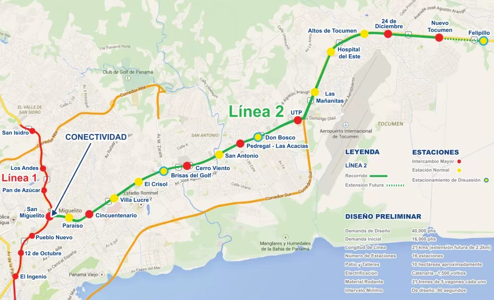 The route for Line 2 highlighted in green. Credit: Panama Metro.