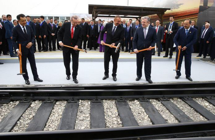 Politicians at the launch of the Baku-Tbilisi-Kars railway in October 2017. Photo: The Office of the President of Turkey.