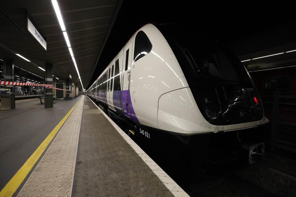 A TfL Rail Aventra at Stratford station. Credit: Crossrail.