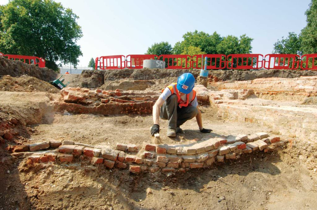 Remains of Tudor moated manor house uncovered at Stepney Green. Credit: Crossrail.