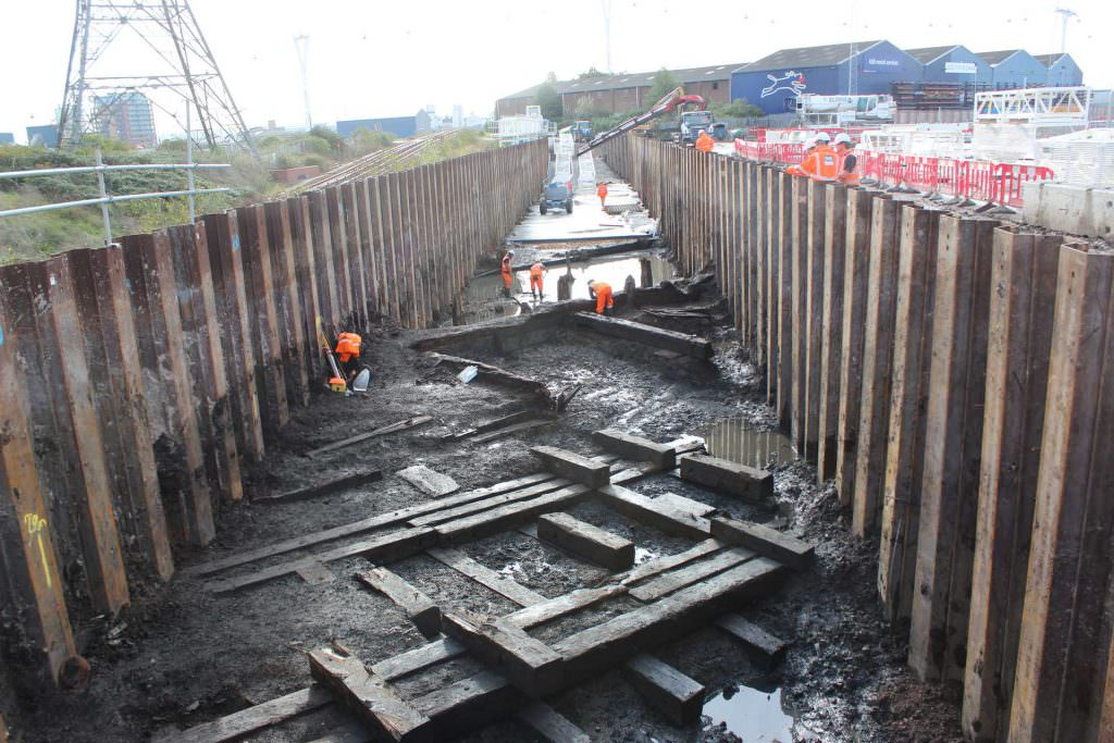 Building remains from the Thames Iron Works and Shipbuilding Company . Credit: Crossrail.