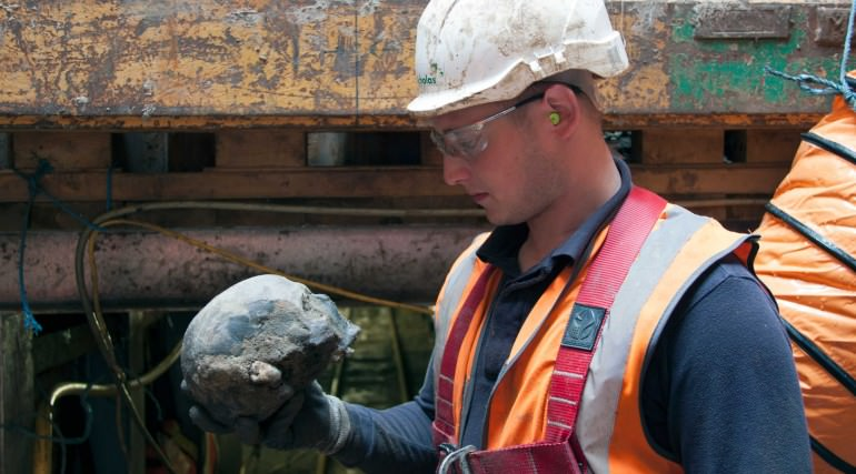 A Roman skull found at Liverpool Street ticket hall. Credit: Crossrail.