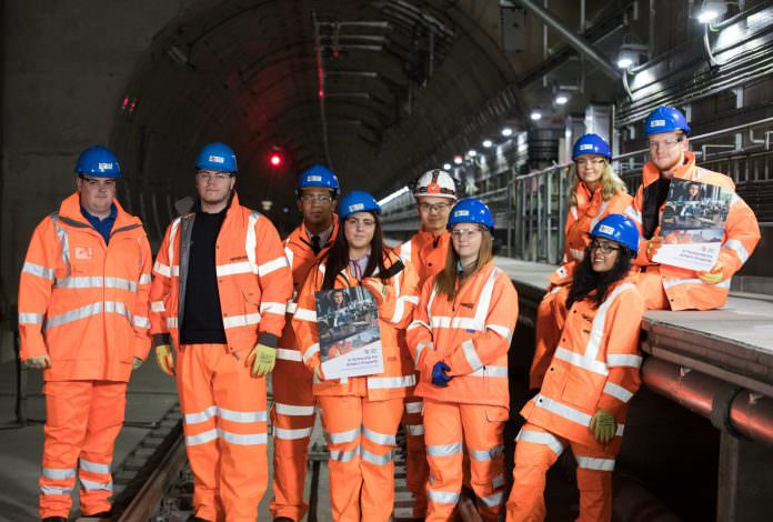 Apprentices from across the rail industry gather together in the Canal Tunnels near Kings Cross. Credit: RDG.