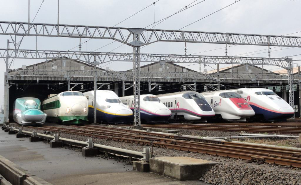 An historic lineup of JR East Shinkansen trains from the E1 to E5 Series. Credit: Rsa.