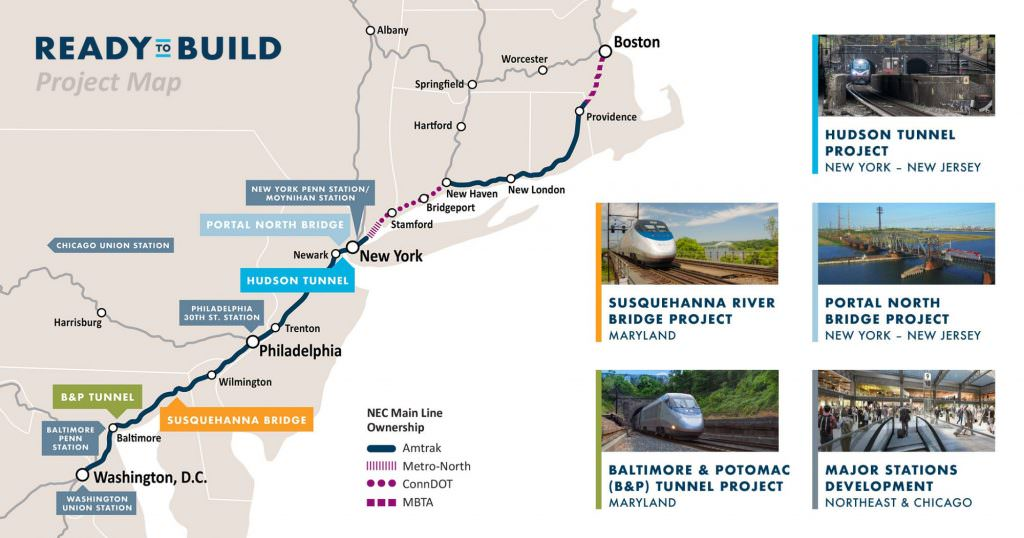 A graphic highlighting the geographical locations of the five projects. Credit: Amtrak.