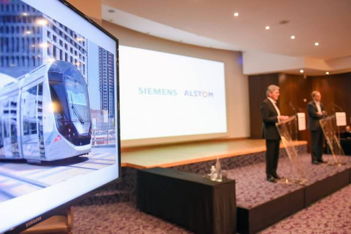 Siemens and Alstom held a joint press conference last week to answer questions from the world's media on their merger. Credit: Alstom.