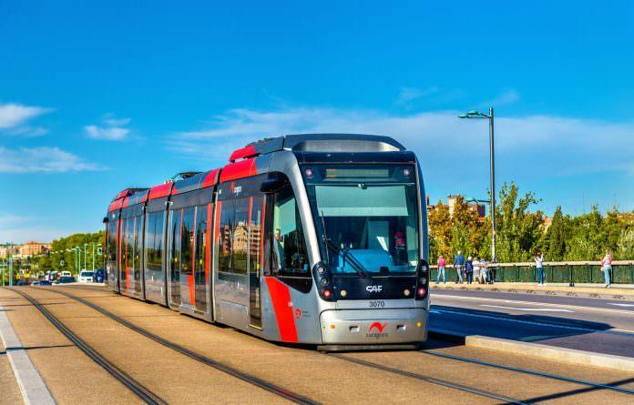 An Urbos tram in Zaragoza, Spain. Credit: Leonid Andronov/Shutterstock.