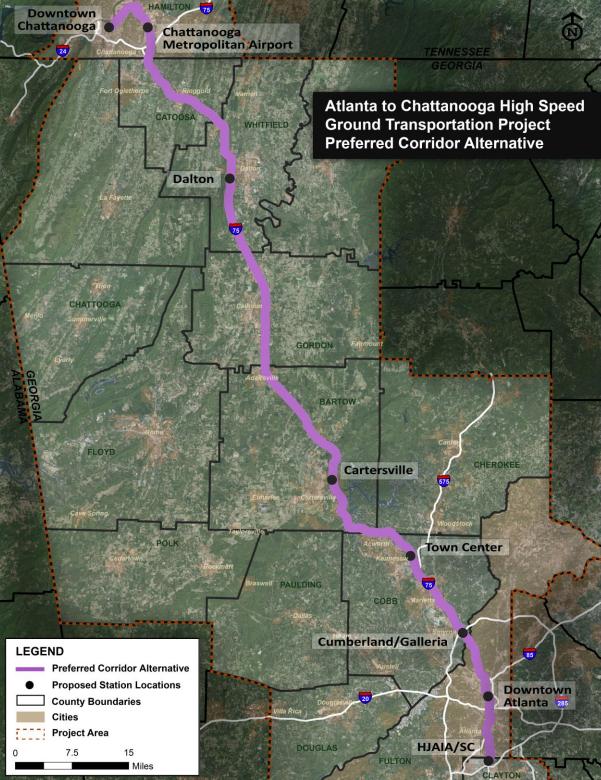 The preferred corridor. Credit: Federal Railroad Administration.