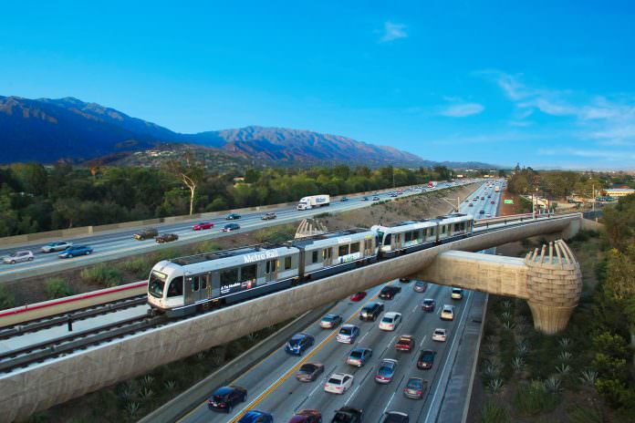A stretch of the Foothill Gold line from Pasadena to Azusa. Credit: Foothill Gold line.