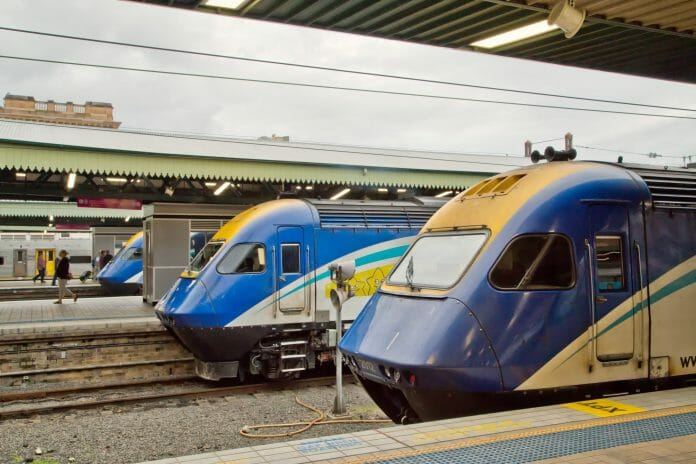 Three XPT trains wait at Central Station, Sydney. Photo: PomInOz / Shutterstock.com.