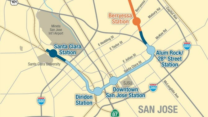 A map of phase two. The phase one extension shown in orange. Photo: VTA.