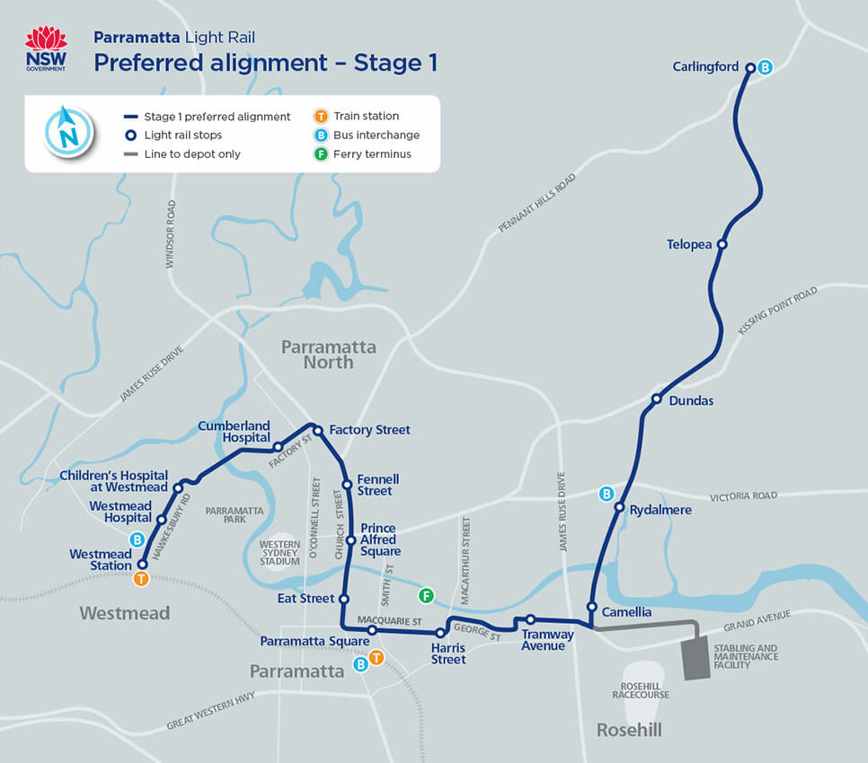 Stage 1 of the Parramatta Light Rail project. Photo: NSW Government.