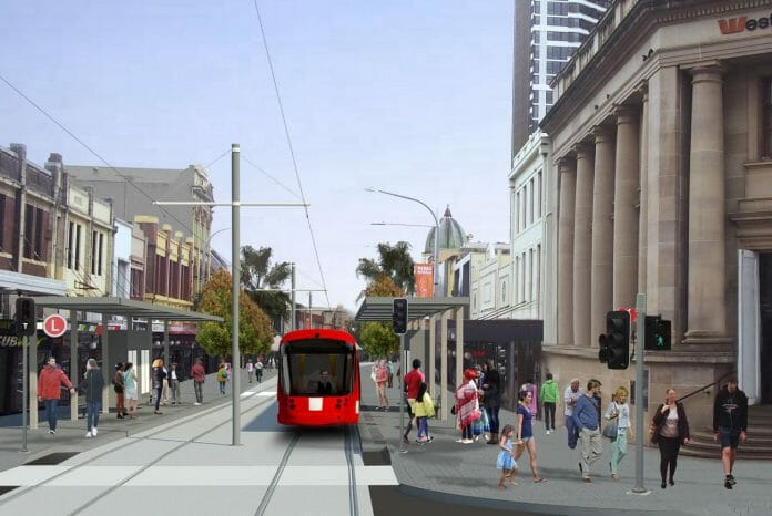 An artist's impression of the Parramatta Light Rail at Church Street in Parramatta CBD. Photo: NSW Government.