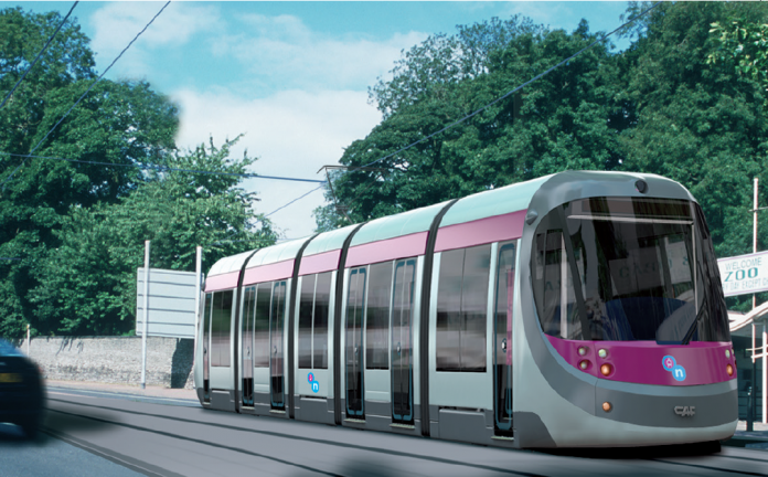 An artist's impression of the metro extension through Dudley. Photo: West Midlands Combined Authority.