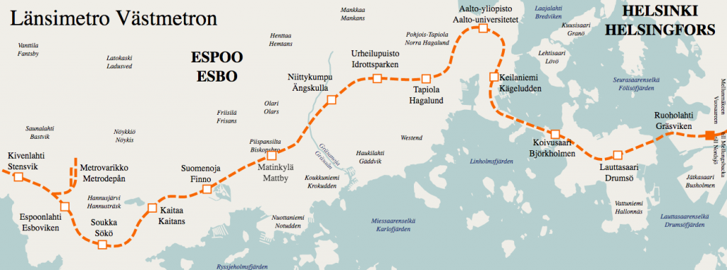 A map of the Länsimetro project.