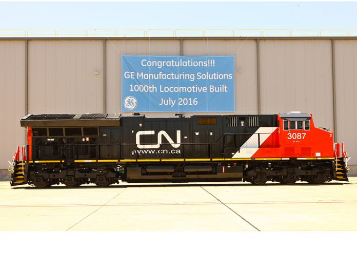 GE Transportation celebrated the 1,000th locomotive to be built at Fort Worth. Photo: GE.
