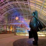 A statue of poet laureate John Betjeman was commissioned for St Pancras International station, which he lobbied to save. Credit: Bechtel.