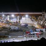 A 9,000 tonne bridge is put into position over HS1. Credit: Bechtel.