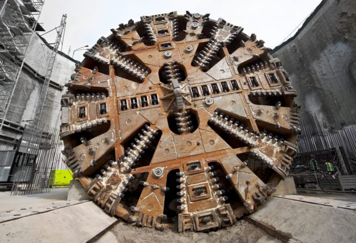 A stock photo of a tunnel boring machine cutter head. Credit: VILevi/Shutterstock.
