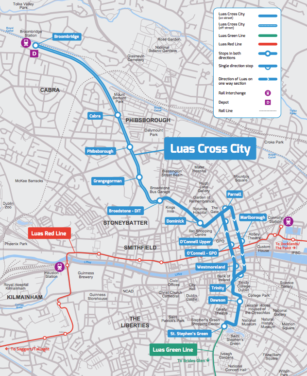 A map of the Luas Cross City line, which is now part of the Green line. Photo: Luas.