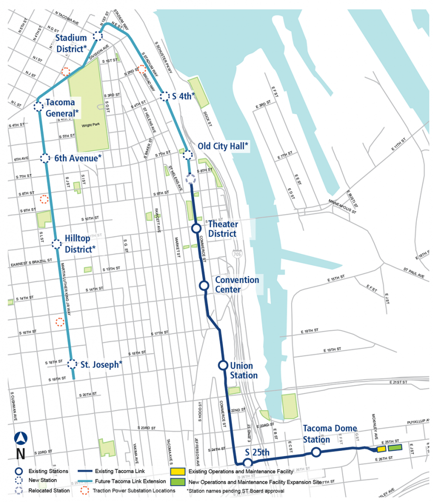 A map of the Tacoma Link extension. Photo: Sound Transit.