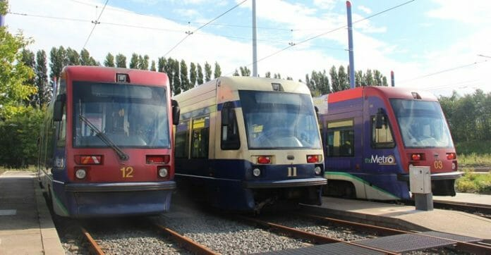 Three of the 15 Ansaldo T69 trams that are up for sale. Photo: Transport for West Midlands.