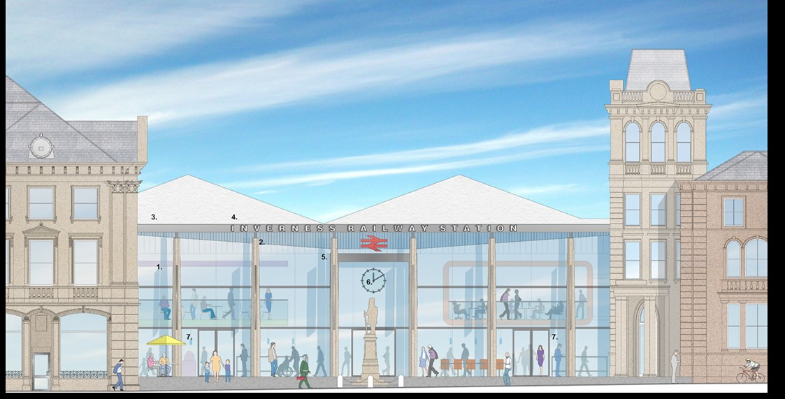 A CGI of what Inverness station could look like following its redevelopment.