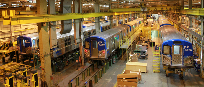 Kawasaki Rail Car's train production factory in Yonkers, New York. Photo: Kawasaki.