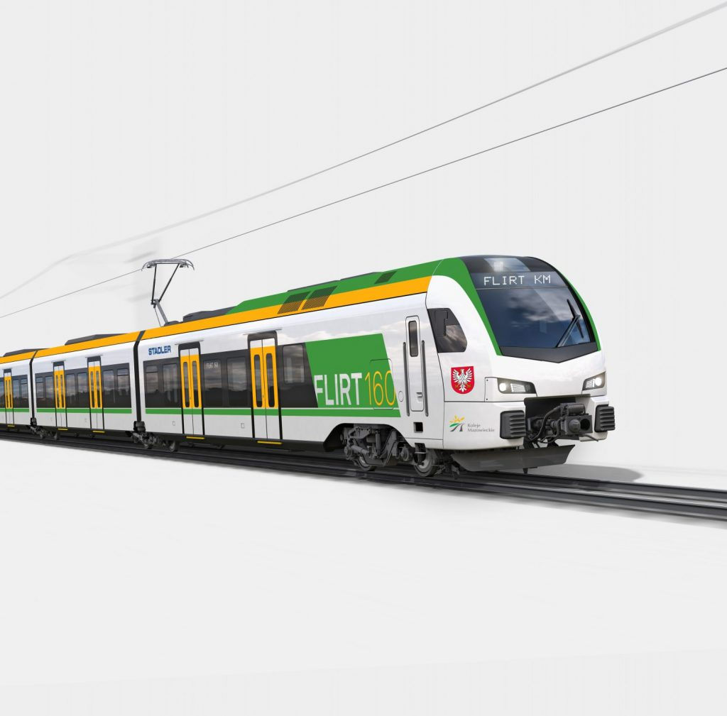 An artist's impression of a FLIRT EMU for regional rail operator Koleje Mazowieckie . Photo: Stadler.