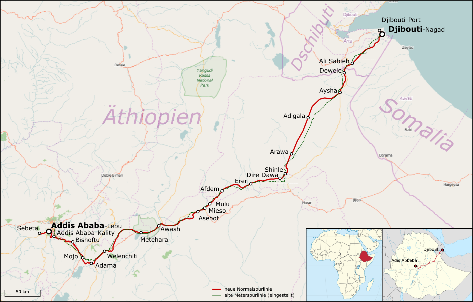 The Ethiopia-Djibouti railway shown in red. Photo: Map data, OpenStreetMap and CC-BY-SA.
