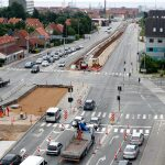 The construction of the tracks in one of the central intersections of Aarhus. Photo: European Investment Bank.