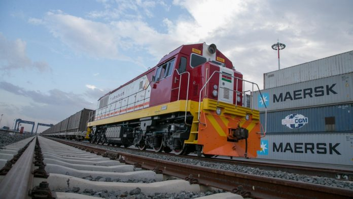 The first commercial cargo train at the Inland Container Depot, Nairobi. Photo: the Kenyan Government.