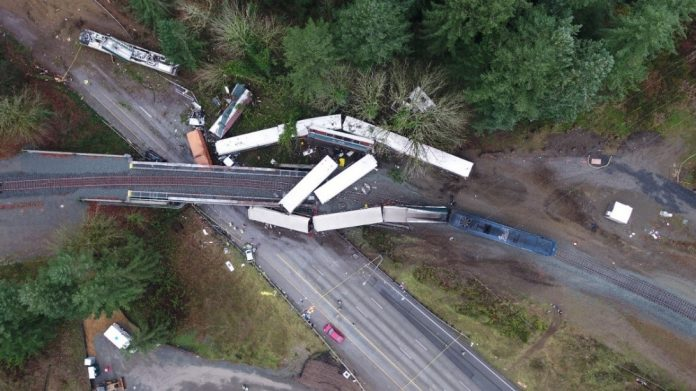 An overhead view of the crash site near DuPont, Washington. Photo: Washington State Patrol.