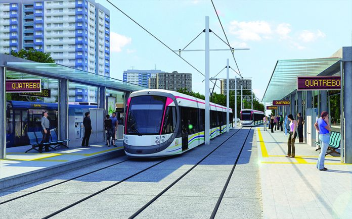 An artist's impression of the proposed light rail system for Mauritius. Photo: Larsen & Toubro.