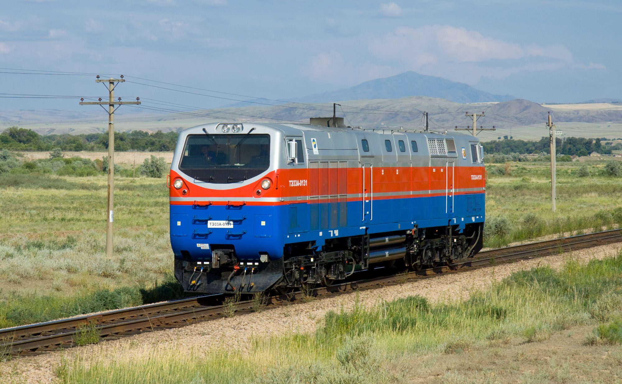 A TE33A locomotive in Kazakhstan. Photo: Kabelleger / David Gubler.