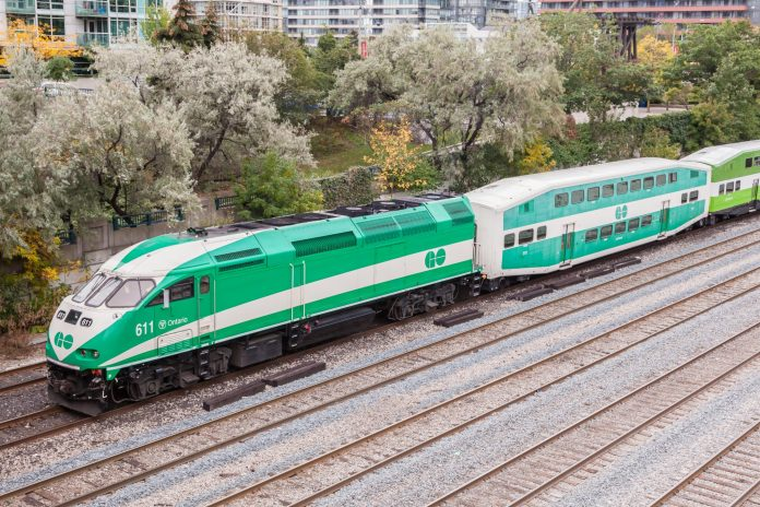 A Go Transit train leaves the city of Toronto. Photo: Philip Lange / Shutterstock.com.