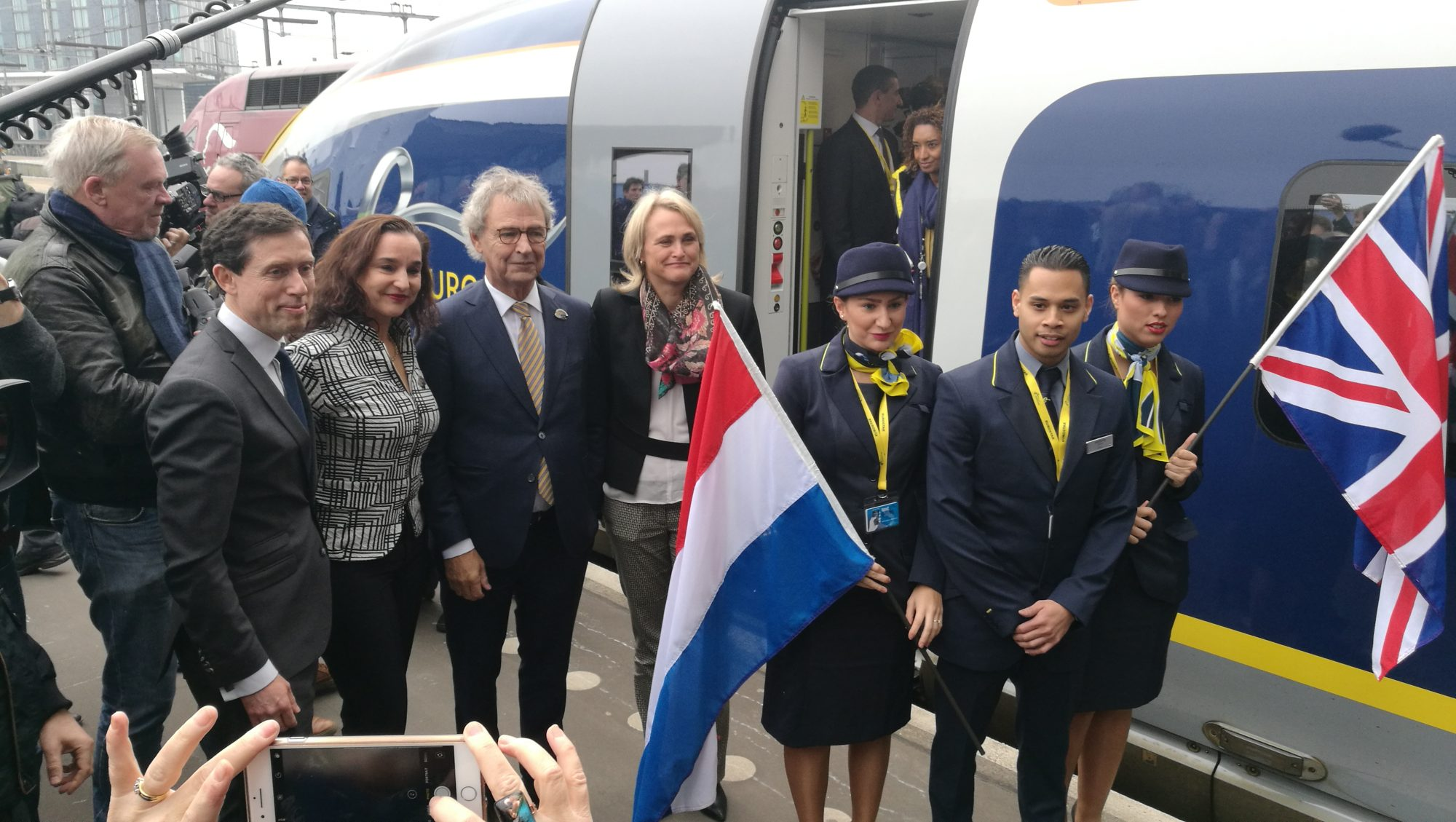 Eurostar was greeted by a crowd of hundreds of people at Amsterdam Centraal station.