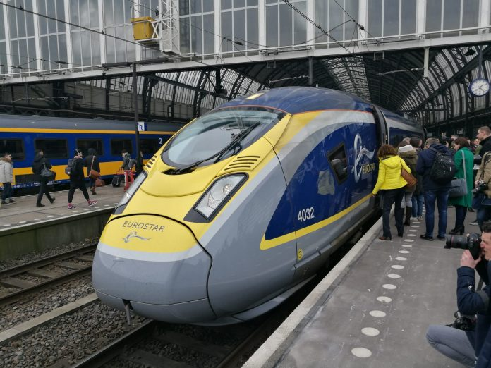 A Eurostar train at Platform 15 at Amsterdam Centraal station.