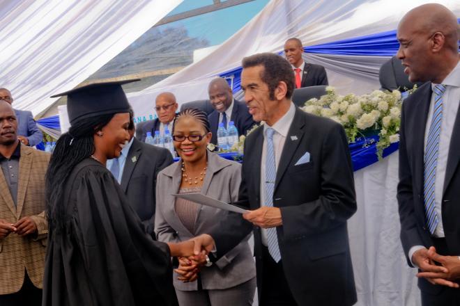 President Khama congratulates one of Botswana Railways' new locomotive driver. Photo: Botswana Railways.