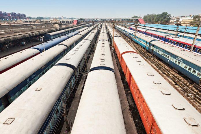 Trains at New Delhi railway station. Photo: saiko3p / Shutterstock.com.