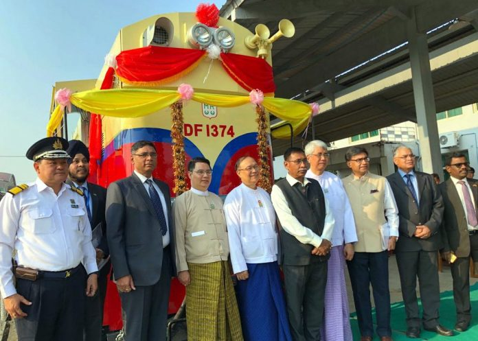 The handover ceremony for the final locomotive was held Nay Pyi Taw, Myanmar's capital city, on March 19. Photo: Indian Railways.